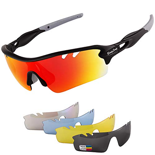 Polarized Sports Sunglasses for Men Women with 5 Interchangeable Lenes for Cycling Sunglasses Running Baseball Golf Softball Driving Finishing