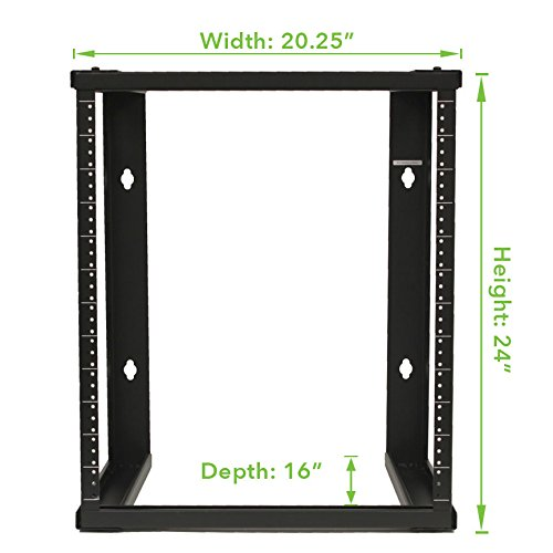 NavePoint 12U Wall Mount Open Frame 19'' Server Equipment Rack Threaded 16 inch Depth Black