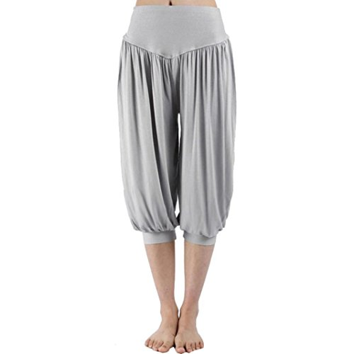 Owill Women Ladies Sport Harem Loose Capris Yoga Elastic High Waist Shorts Pants (Gray, XL)