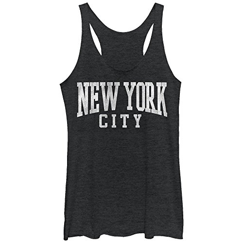 Chin Up Women's Classic New York City Black Heather Racerback Tank (New York Womens Tank Top)