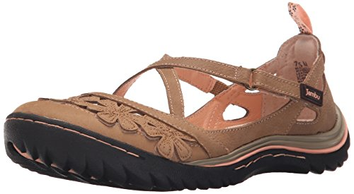 Jambu Women's Blossom Encore Flat, Taupe, 6.5 M US (Brown Velcro Casual Shoe)