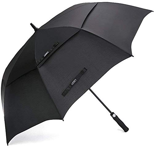 G4Free 54 Inch Automatic Open Golf Umbrella Windproof Extra Large Oversize Double Canopy Vented Windproof Waterproof Stick Umbrellas for Men Black