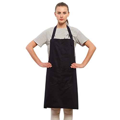 Housewife Costume Ideas (Ruier Home String Adjustable Bib Apron with Pocket, Very Cool Navy Blue Color, 100% Pure Cotton, Unisex, 28x32 Inches)