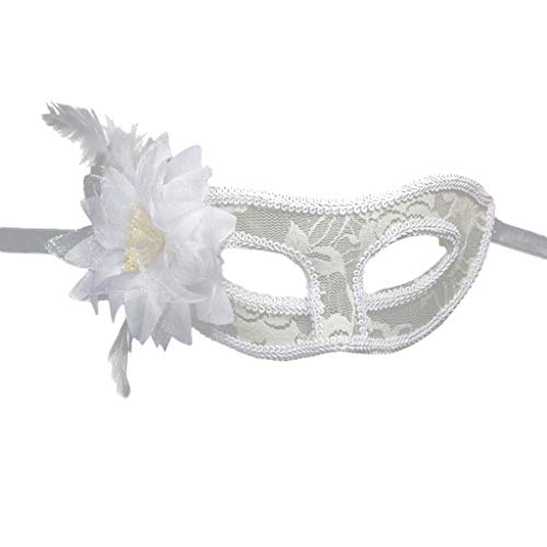 Women Venetian Mask,Princess Feather Carnival Mask Venetian Masquerade Masks Mardi Gras Costume Festival Party (White)