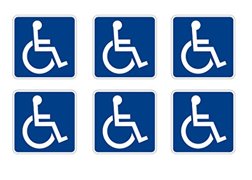 Handicap Decal - Disabled Wheelchair Symbol ADA Compliant Handicap Access Sign Pack of 6 3 X 3 Inch Blue Window Sticker Decal