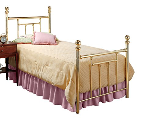 Brass Footboard - Hillsdale Furniture 1035BTWR Chelsea Bed Set with Bed Frame, Twin, Classic Brass