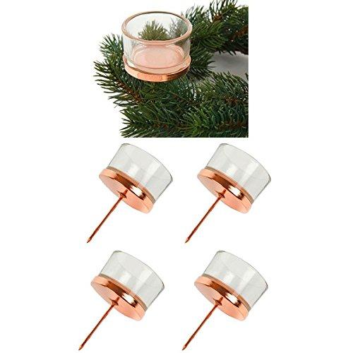 Amazon.de: Teelichthalter 4-tlg. Set für Adventskranz, kupferfarben ...