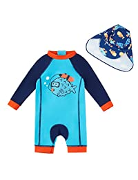upandfast Baby/Toddler One Piece Swimsuit with Sun Hat UPF 50+ Sun Protection Infant Swimwear