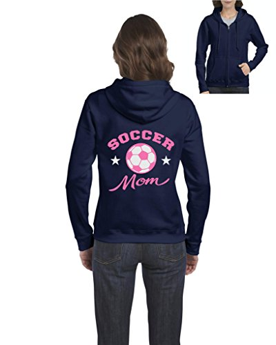 fan products of Soccer Hoodie Plush Soccer Mom Mothers Day Sports Event Soccer Fan Womens Sweaters Zip Up