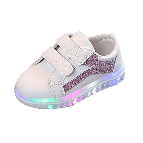 Vintress Girl's Light Up Sequins Slip On Loafers Flashing LED Casual Shoes -