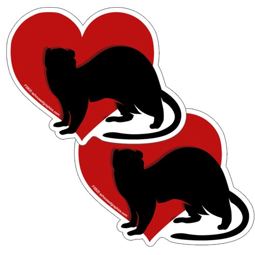 - AZ House of Graphics Heart Ferret Stickers 2 Pack