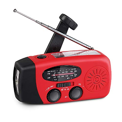 Portable Solar Emergency Weather Radio, Hand Crank Self Powered AM/FM NOAA Survival Radios with LED Flashlight and 1000mAh Power Bank for Smart Phone, Useful for Household Outdoor Camping Traveling