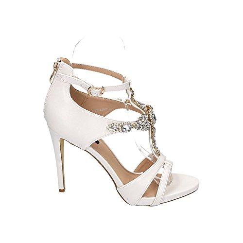 Damen Sandalette Sandale High Heels Leder Optik Schmucksteine Hochzeit