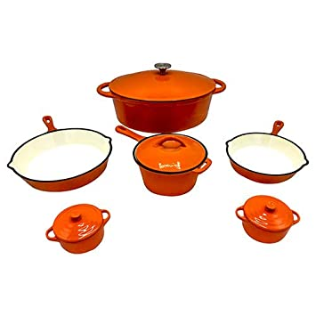 Le Chef 10-Piece Enamel Cast Iron Orange Cookware Set.