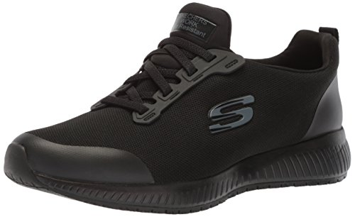 Skechers for Work Women's Squad SR Food Service Shoe, black flat knit, 7.5 M US