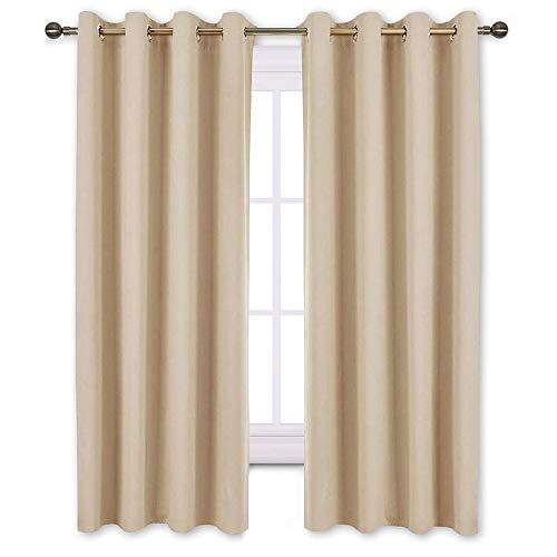 (NICETOWN Bedroom Curtains Room Darkening Draperies - Biscotti Beige Room Darkening Drapes/Panels for Bedroom, Grommet Top 2-Pack, 52 x 63 Inch Long, Thermal Insulated, Privacy Assured)