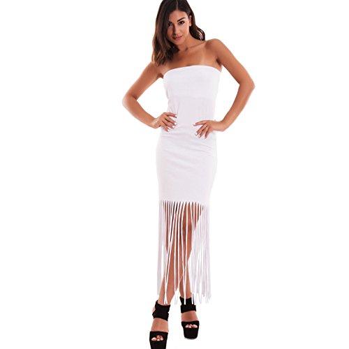 7335 Toocool frange Vestito donna Bianco mini nuovo sexy bandeau abito tubino tubo AS lungo 7wXwq