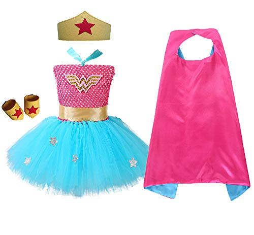O'COCOLOUR Superhero Wonder Woman Tutu Costume for Toddler Girls Blue Star Fluffy Party Role Play Hero Tutu Outfits(Blue&Hot Pink, Medium)  -