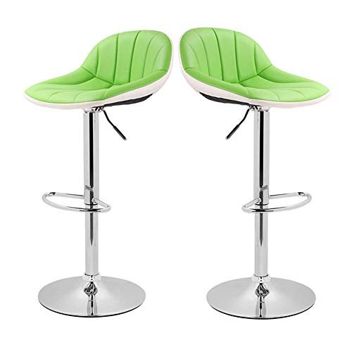 Adjustable Swivel Barstools with Back for Home Bar Kitchen Counter, New Modern Green and White PU Leather Hydraulic Bar Chair-Set of 2, Hold Up to 350lb ()