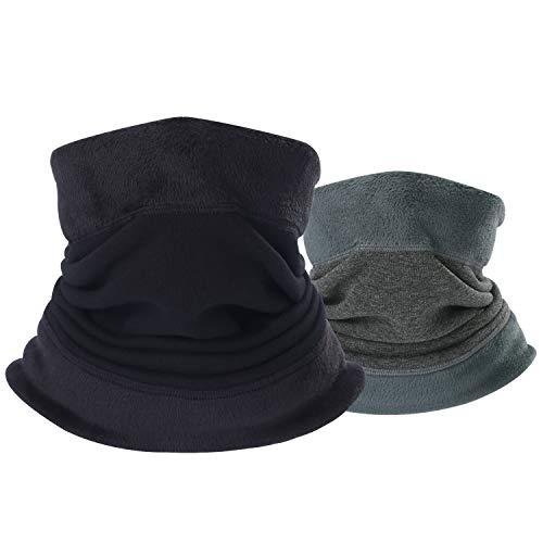 BINMEFVN Neck Warmer - 1 Pack or 2 Pack Polar Fleece Thermal Neck gaiter Set & Windproof Ski Cold Weather Face Mask For Men Women - Keep Warm