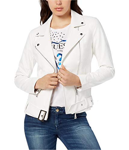 GUESS Women's Small Embellished Faux-Leather Biker Jacket - Jacket White Guess
