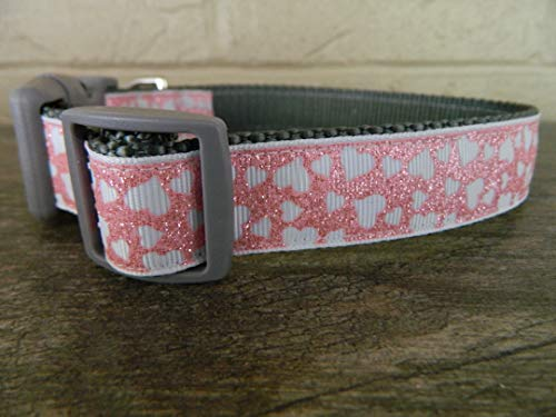 (Schmoopsie Couture Valentine's Day Pink and White Glitter Hearts Dog Collar (Small 1