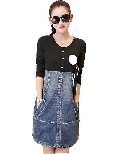 Abiti da donna eleganti estivi Vestito Da donna Jeans Romantico   Moda  città Monocolore Sopra il 4abd4c598cf