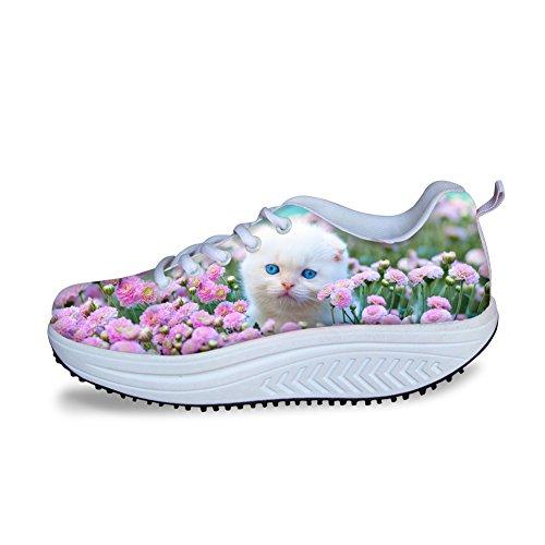 Abbracci Idea Moda Rosa Piattaforma Sneakers Fitness Scarpe Da Passeggio Per Donna Cat 3
