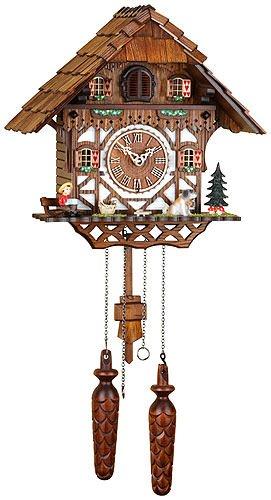 German Cuckoo Clock Quartz-movement Chalet-Style 13.00 inch - Authentic black forest cuckoo clock by Trenkle Uhren