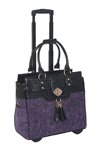 - JKM and Company THE CONTESSA Purple & Black Alligator Faux Leather Compatible With Computer iPad, Laptop Tablet Rolling Tote Bag Briefcase Carryall Bag