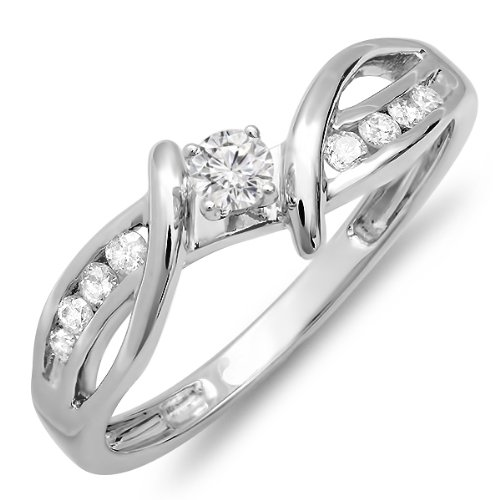 Dazzlingrock Collection 0.25 Carat (ctw) 14k Round Diamond Crossover Split Shank Ladies Bridal Promise Engagement Ring 1/4 CT, White Gold, Size 6.5