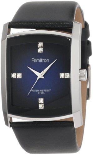 (Armitron Men's 204604DBSVBK Dress Swarovski Crystal Accented Silver-Tone Black Leather Strap Watch)