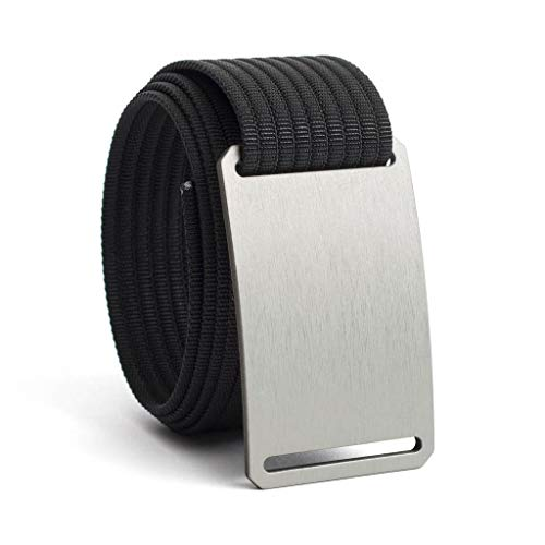 Men's Web Belt GRIP6 (32in Granite w/Black Strap) (Nickel Super Gem)