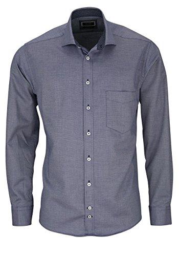 HATICO Regular Fit Hemd Langarm Struktur dunkelblau