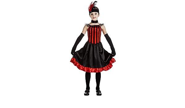 Disfraz de Can Can rojo y negro para niña: Amazon.es: Juguetes y ...