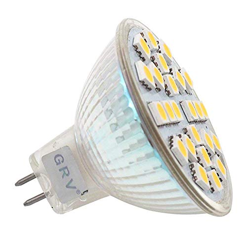 White Extensions Track Lighting - GRV MR16 24-5050 SMD LED Bulb Glass Cover 25W Halogen Bulb Replacement G5 Retail Applications Landscape Residential Settings Warm White Pack of 10