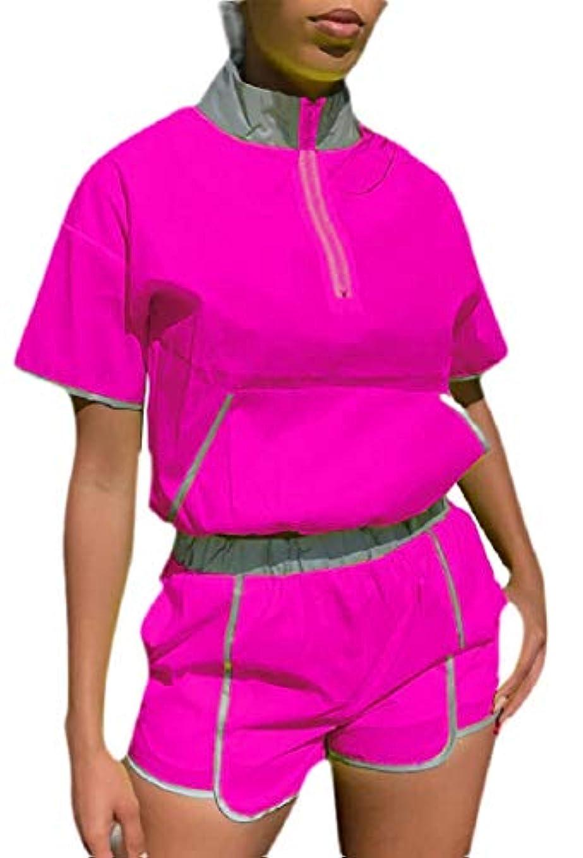 スーツケース玉パスKeaac 女性2ピースの衣装ショートスリーブハーフジッパークロップトップとショーツスポーツ