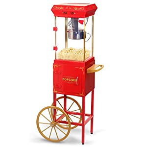 Elite Deluxe EPM-299 Maxi-Matic 2.5 Ounce Popcorn Maker Machine with Trolley, Red
