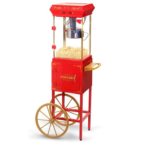 Elite Deluxe EPM-299 Maxi-Matic 2.5 Ounce Popcorn Maker Machine with Trolley, Red by Maximatic