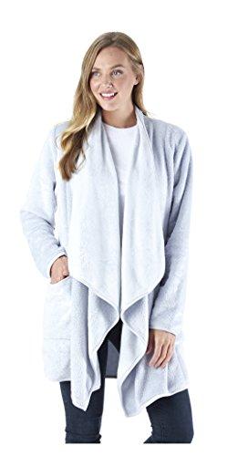 (Sleepyheads Women's Sleepwear Fleece Wrap Robe with Pockets, Long Sleeve Loungewear Cardigan, Blue)
