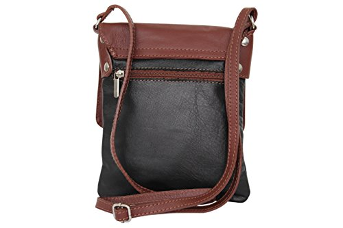 Italian small leather shoulder Moda Brown NL602 bag Black Ambra H45wqFOEWn