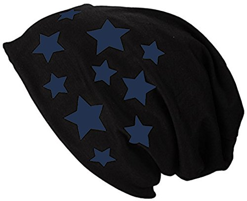 2Store24 Gorro Jersey Largo Beanie con Estrellas Primavera verano Mujer y Hombre Azul