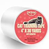 Ronton Cat Scratch Deterrent Tape - 4' X 30 Yards (33% Wider) Anti Scratch Tape for Cats | 100% Transparent Clear Double Sided Cat Training Tape | Pet & Kid Safe | Furniture, Couch, Door Protector