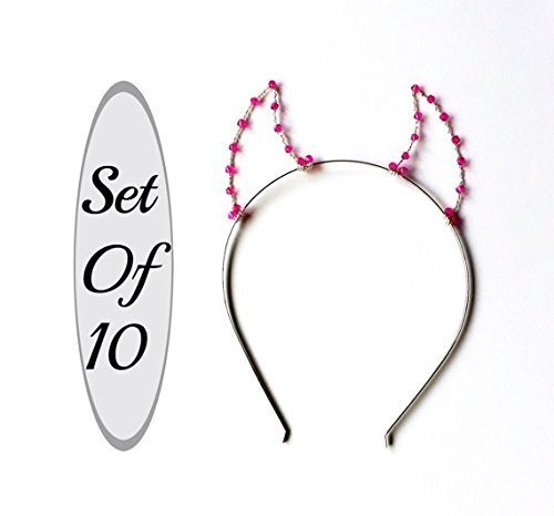 Set Of 10 Devil Horns, Party Pack Of Ten Pink Beaded Wire Demon Headbands For Parties, Hen Nights, Bachelorette & Bridal Showers by Scarlet Tiaras