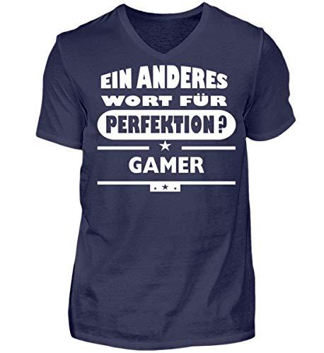 V für perfektion Shirtee Wort Neck Herren Navy Gamer wtqwXUzE