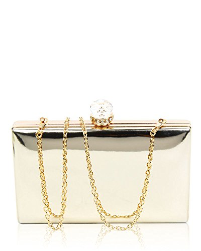 Clasp Gold Clutch Stone Women's 20x12x4 Diamante Wedding 5cm Crystal Bag Shiny Evening Dimensions Cover Leather Hardcase With 7wwRqap5P