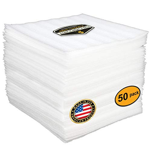 50 Pack of Mighty Gadget (R) Cushion Foam Sheets 12 X 12, Safely Wrap Dishes, China, and Furniture, Packing Cushioning Supplies for Moving (1/8