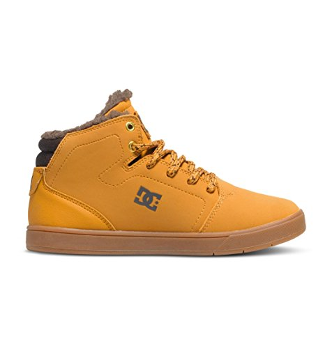 DC Crisis High Want Youth Shoes Sherpa Lined Hi Top Skate Shoe (Little Kid/Big Kid), Wheat/Dark Chocolate, 5 M US Big Kid - Dc Shoes High For Kids