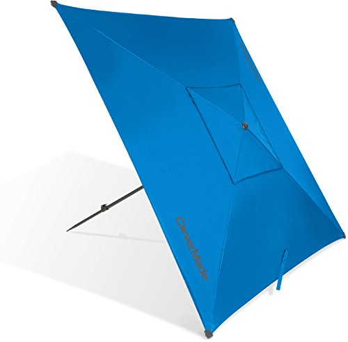 CleverMade Quadrabrella - Portable 5' Outdoor Beach Umbrella for Sun Shade & Wind Protection - Includes Carry Bag, Pivot Hammer & Ground Stakes, Teal
