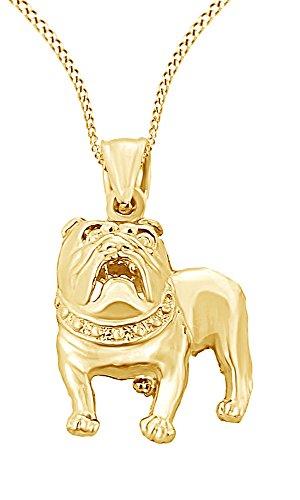 (Jewel Zone US Diamond Cut Bulldog Charm Pendant in 10K Solid Yellow Gold)